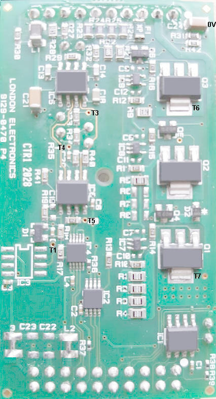 Test points on analogue input board